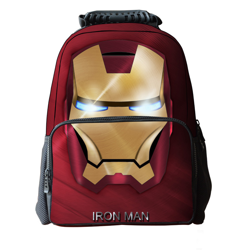 16 Inch Children Backpack Iron Man Bag School For Teenagers Cool Heroes Backpack Kids School Bags For Boys Mochila Menino