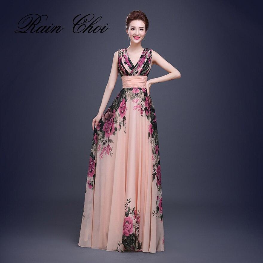 Fleur motif Floral imprimé en mousseline de soie robe de bal robe de soirée longue robes de soirée 2019
