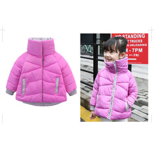2-8 T Novo Estilo Coreano Meninos Doce Cor Botão Para Baixo Outerwear Jaqueta Casaco de Inverno Quente Meninas