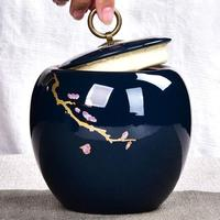 Ceramic Glaze Tea Caddies Storage Jar Hand Painted Caddy Teaware Accessories Vintage Canister Coffee Beans Caddies Cans Decor