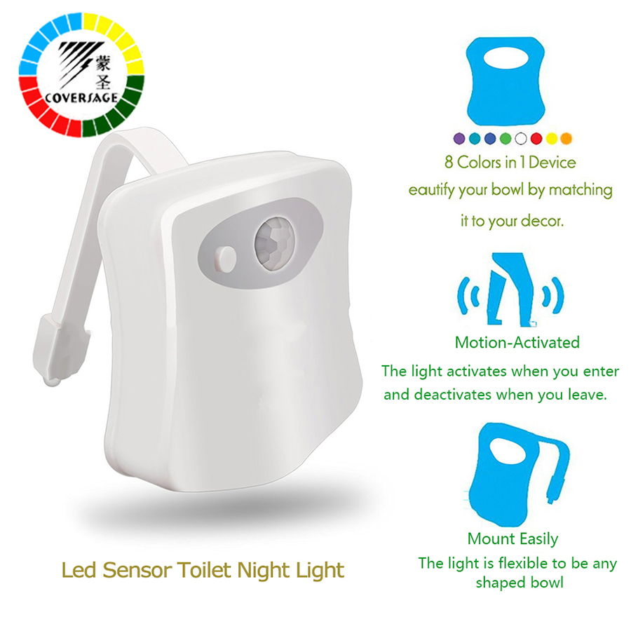 Coversage Smart Toilet Night Light LED Motion Auto Sensor Activated Bathroom With 8 Color Changing Battery Operated Washroom