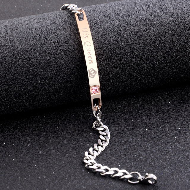2Pc/Set Queen King Stainless steel Stone Women Man Chain Crystal Couple Bracelet for Men snap jewelry bracelet Pulseira hombres 5