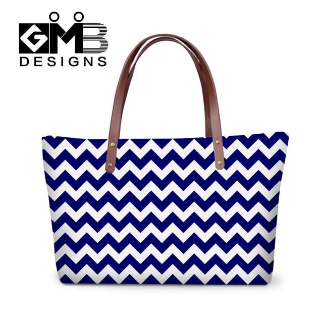 fc4bcaf66 Listra azul Branco Mulheres Meninas Bolsa de Ombro Grande Tote Sacos de  Bolsas de Senhoras de