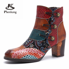 Women winter Boots Genuine cow Leather High heel Ankle Comfortable quality soft Shoes Brand Designer Handmade red brown 2019 genuine cow leather women ankle boots comfortable quality soft shoes brand designer handmade 2018 winter boots brown with fur