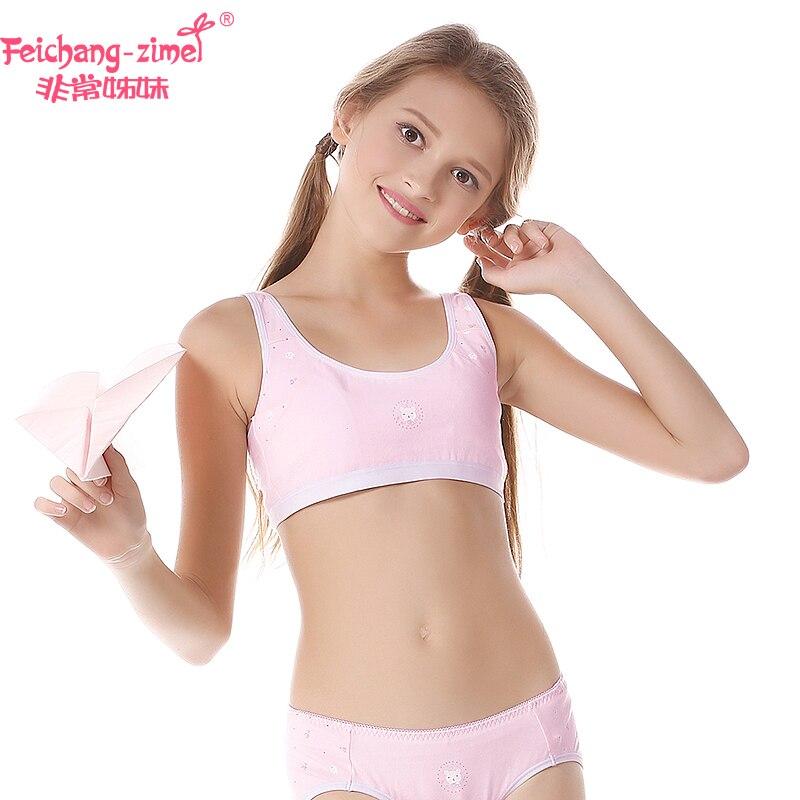 91cc64d6c61ec New Arrival Feichangzimei Girls Underwear Set Girls Bra Cartoon Pint Cotton  Vest Training Bra Set Inclued