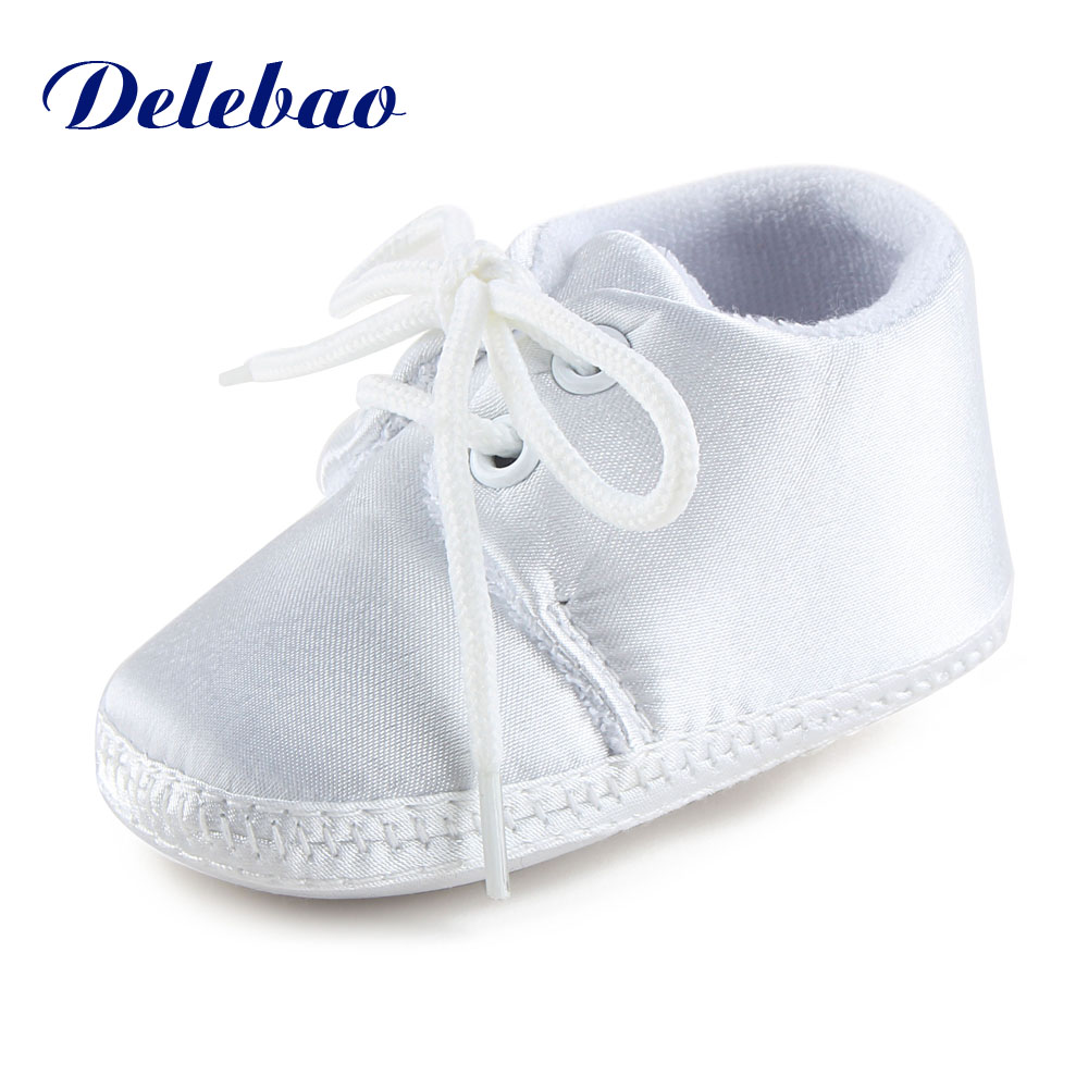 Newborn Baby Boy Or Girl Pure White The Baptism Of Shoes Unique Lace-up Soft Sole Cotton Christening First Walkers