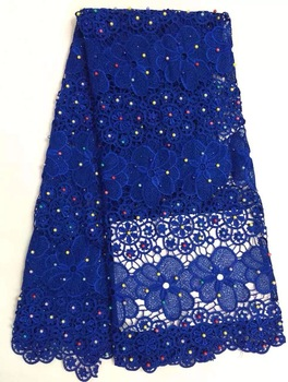 African Beads lace fabrics high quality 100% cotton lace material for wedding dress.Swiss voile lace fabric in nice design R