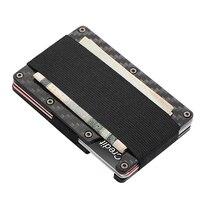 Minimalist Carbon Fiber Wallet Slim Money Holder Wallet Metal RFID Blocking Front Pocket Theft Protection Credit Card Case