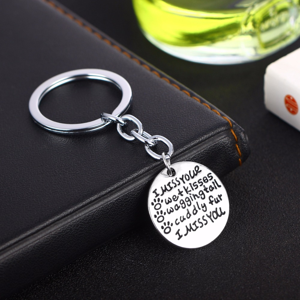 I Miss Your Wet Kisses Keychain Dog Cat Pet Paws Prints Memorial Keyring  Women Animals Lovers Key Chains Rings Car Bags Keyfob-in Key Chains from  Jewelry ... b28739225