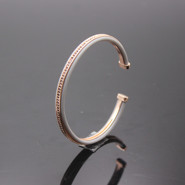 Anil Arjandas Men Cuff Bracelets Rose Gold Micro Pave Black Cz Stone Beads Light Brown