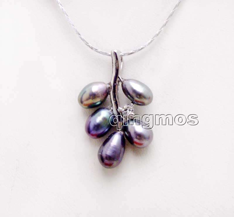 6-7mm Black Rice Natural Pearl with 18*28mm Grape Pendant free 17 Silver plated Chain-nec6234 Wholesale/retail Free ship