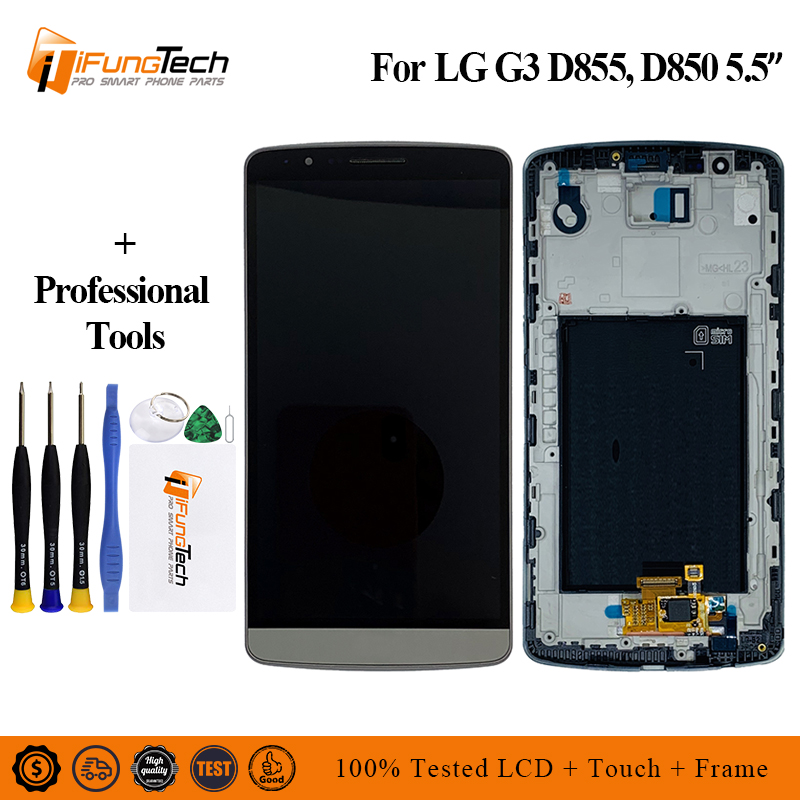 for <font><b>LG</b></font> <font><b>G3</b></font> LCD Touch <font><b>Screen</b></font> Digitizer with Frame Replacement Original D850 D851 D855 Black White Gold image