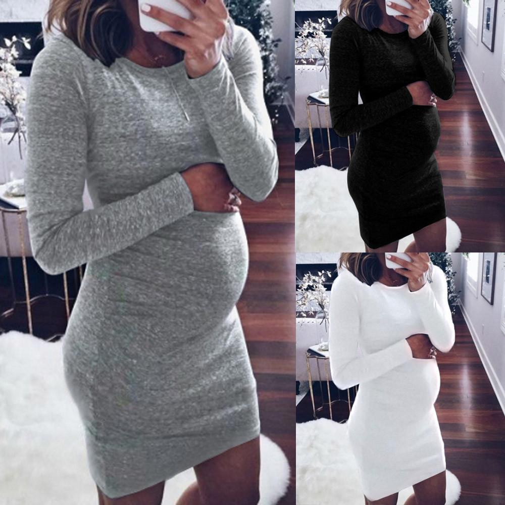New Hot Casual Fashion Women Above Knee Mini Pregnants O-Neck Long Sleeve Nursing Baby For Maternity Dress Comfortable Y-NEW 2018 spring plus size m 4xl pencil dress fashion new o neck long sleeve high quality embroidery knee length pencil dress c1207