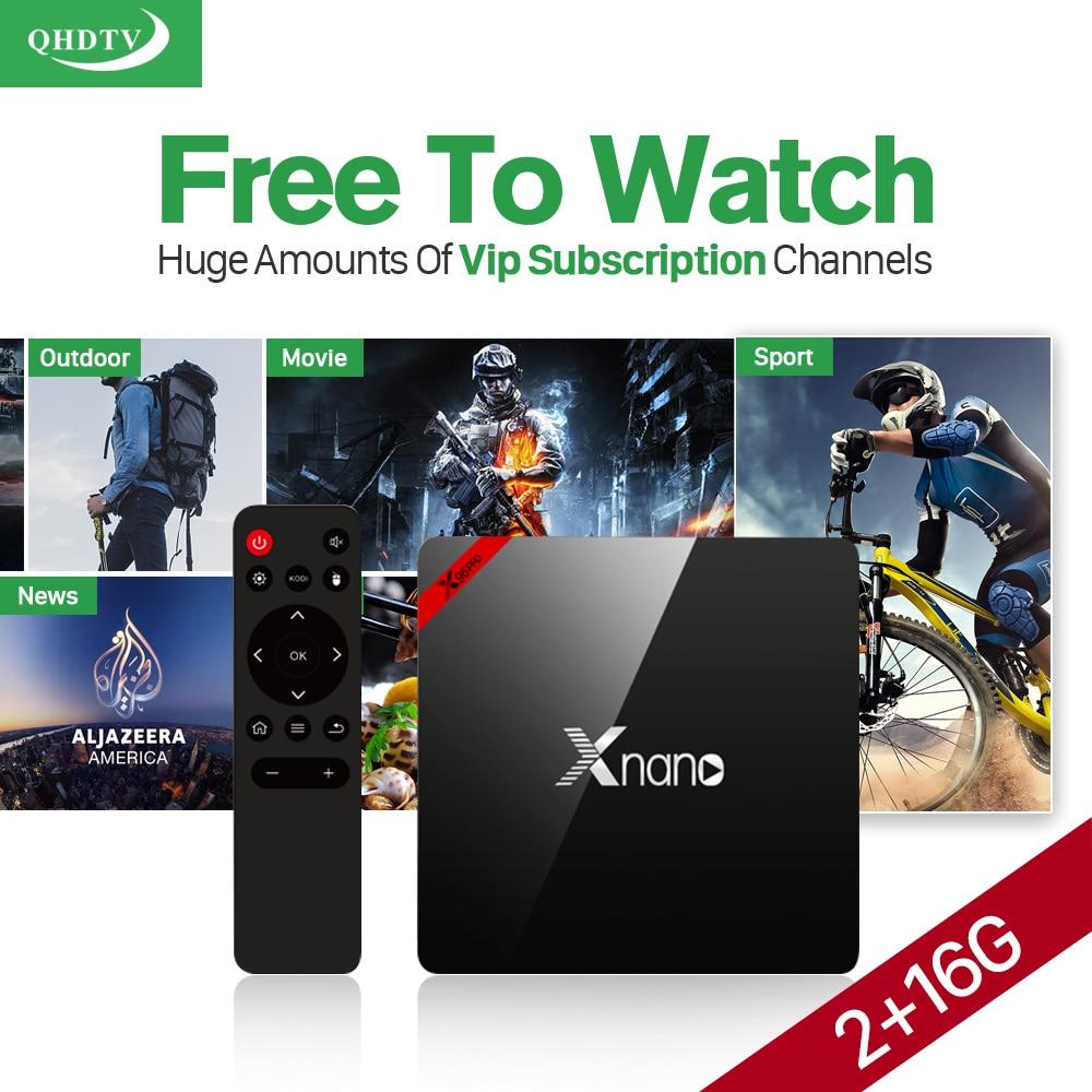 Best Arabic IPTV Box XNANO 2GB 16GB Amlogic S905X Android 6.0 Smart TV Box Quad Core 2.4G Wifi 4K H.265 Media Player Set top box mesuvida 2gb 16gb nexbox a95x smart tv box android 6 0 amlogic s905x quad core 64bit 4k x 2k h 265 many movies set top box