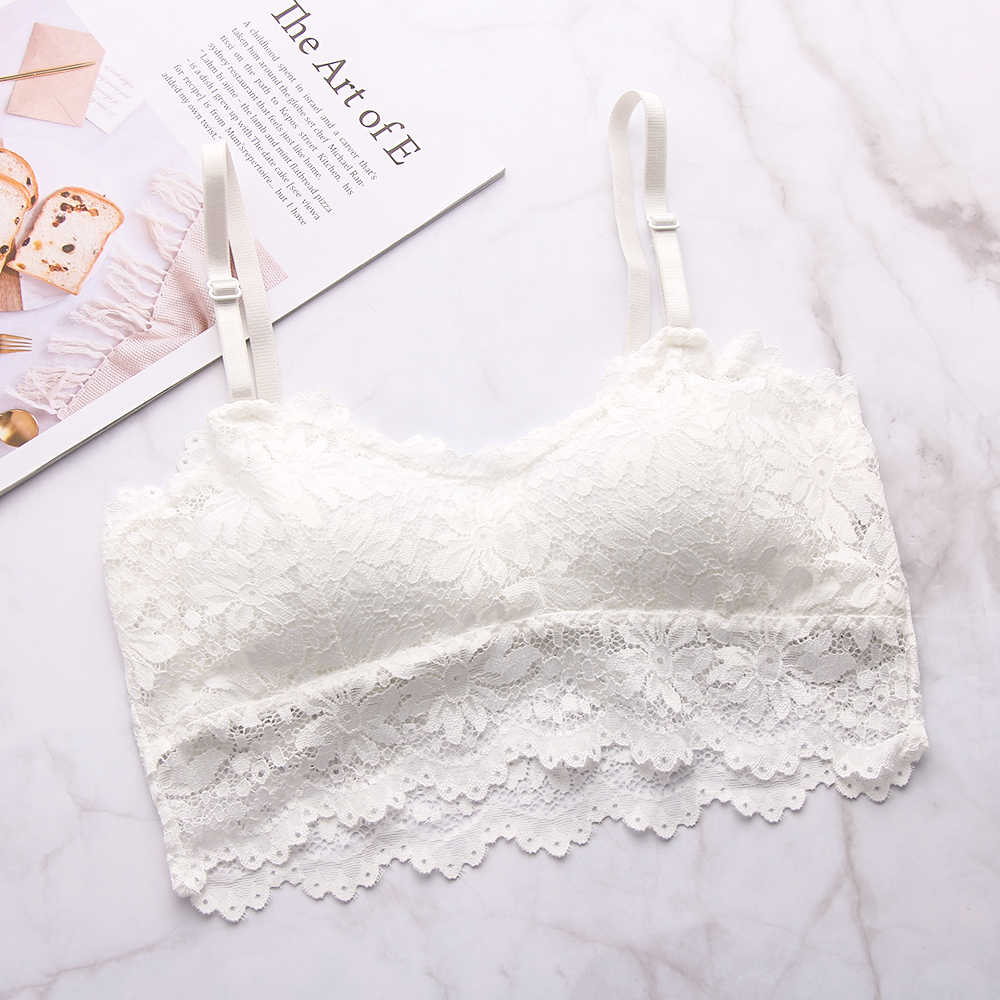 Women Sexy Lace Floral Camisole Padded Tank Tops Women Fitness Underwear Floral Lace Bralette Crop Top Solid Push Up Bra