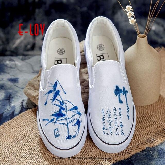 E-LOV 14 Special Painting Unisex Designs Hand-Painted Canvas Shoes Personalized Men Adult Casual Shoes Cute Platform Shoes