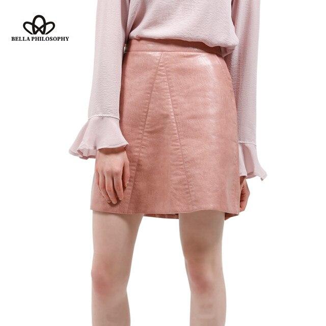 Весна новое качество ПУ искусственной кожи женщин высокой талией юбка розовый желтый черный назад молния карманы