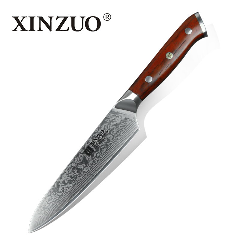 XINZUO 5 Inch Utility Knife Japanese Damascus Steel Kitchen Knife Professional Chef Knives Paring Knife Rosewood