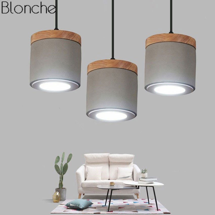 Modern Nordic Cement Pendant Lights Wood Led Spot Hanging Lamp for Living Room Kitchen Lighting Fixtures