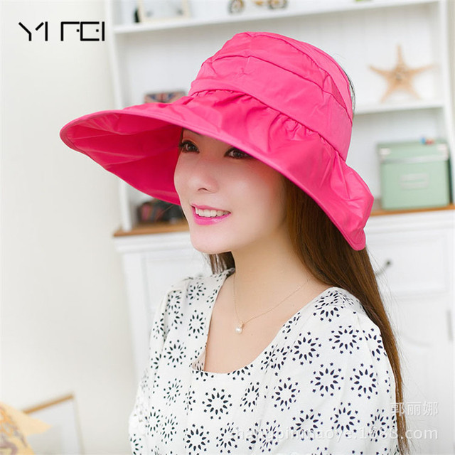 d3b18d3a043 Women s Summer Sun Beach Hats Lady Wide Brim Hat Foldable Roll Up Floppy  Solid Visor Caps