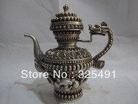China White Copper Silver eight treasures Lucky Dragon Vase Flagon Wine Tea Pot z