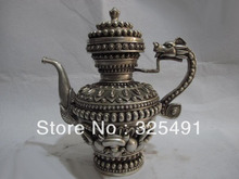 China White Copper Silver eight treasures Lucky Dragon Vase Flagon Wine Tea Pot z