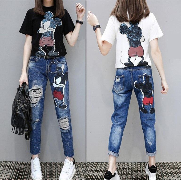 Nouvelles Femmes Mode dessin animé Mickey modèle T-shirts et Jeans Costumes décontracté Lâche Tshirt et Neuf points jeans Ensembles pour Femme
