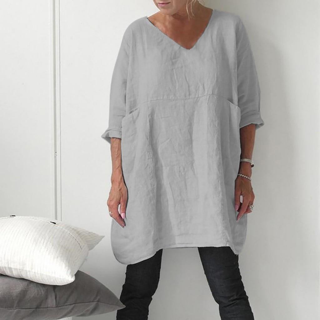 Women Round Neck Short Sleeve Blouse Cotton Linen Tops Summer Casual women summer dress vestidos femininos