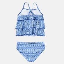 цена на Attracoc Girls Swimwear Two Piece Swimsuits Tankini Striped Print Ruffle Kids Cute Bikini Adjustable Strap Beach Wear Sale