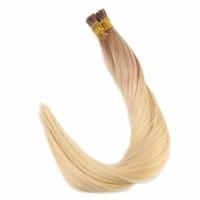 Полный блеск I Tip расширения предварительно таможенного волос 1 г/strand 50 г блондинка ломбер Цвет #12 выцветанию 613 желтый светлые I Tip Химическое ...