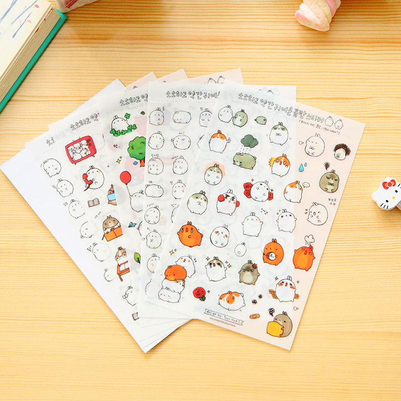 6 Sheets /Set Molang Cartoon Rabbit Decorative Stickers Mobile Phone Stickers Stationery DIY Album Stickers