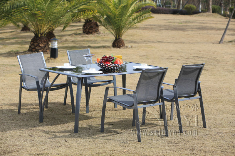 5 pieces aluminum and mesh fabric patio furniture garden furniture outdoor furniture transport by sea