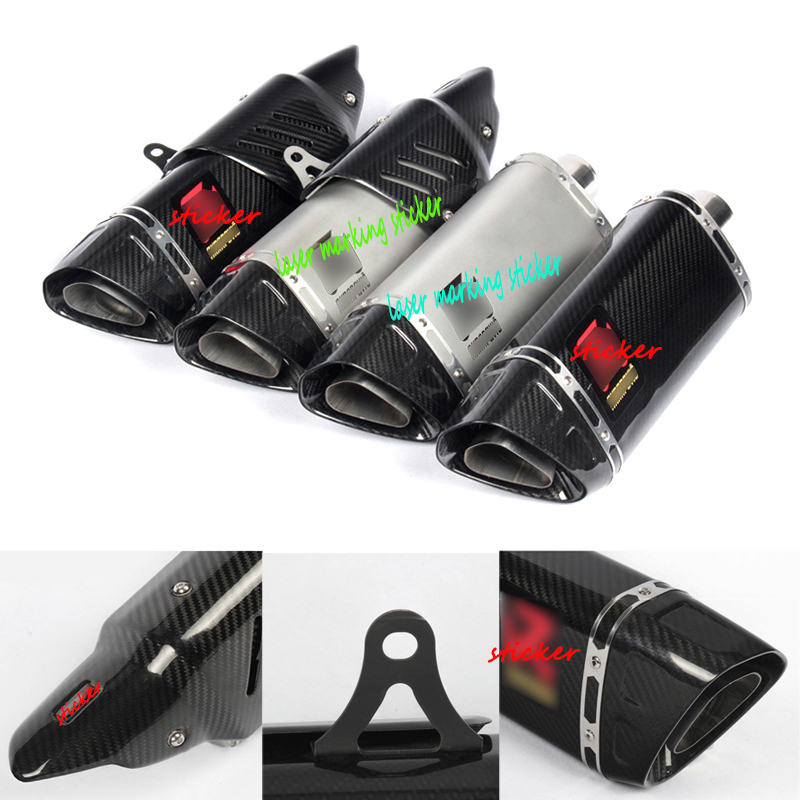 For Yamaha R6 R1 CBR500 S1000RR Z750 Modified 38 51mm Motorcycle Carbon Fiber Exhaust Pipe With