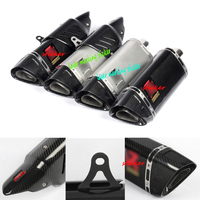 For Yamaha R6 R1 CBR500 S1000RR Z750 Modified 38 51mm Motorcycle Carbon Fiber Exhaust Pipe With Anti hot shell 456mm System