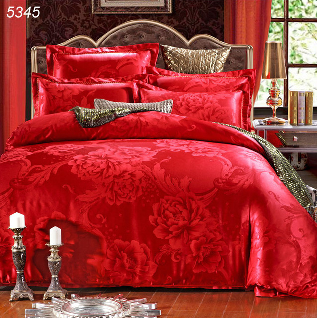 Superieur Wedding Bed Covers Satin Flower Red Silk Bedding Sets Tencel Silk Duvet  Cover Cotton Bed Sheet