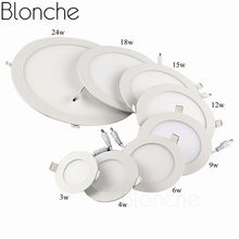 Blonche Led Ceiling Lamp AC85~265V Panel Light Round/Square 3W/6W/9W for Living Room Bedroom Kitchen Modern Home Decor Downlight(China)