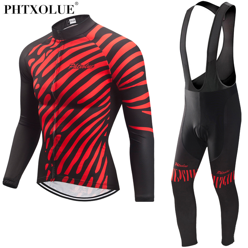 Phtxolue Spring Autumn Cycling Clothing Men Set Long Sleeve Cycling Jersey Sets Bike Clothing Breathable Bicycle
