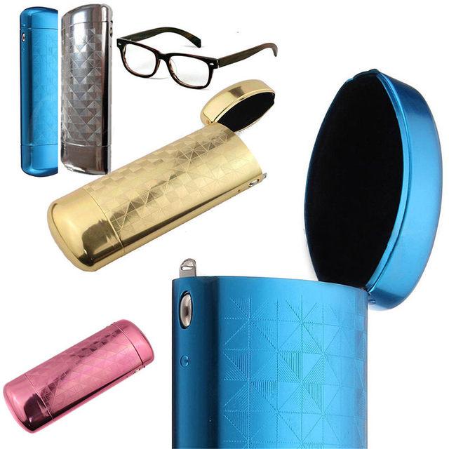 Mayitr Hard Metal Aluminum Lattice Glasses Case Capsule Flip Top Eyeglasses  Case Protector For Glasses Storage