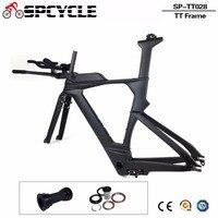 Spcycle 2018 полный углерода TT велосипедных рам TimeTrial Триатлон углерода велосипедных рам велотрек фреймов TT углерода руль
