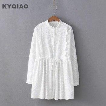 47ec77434 KYQIAO vestido de encaje blanco 2019 mori niñas otoño primavera estilo  japonés dulce fresco de manga larga cuello vestido blanco vestidos de