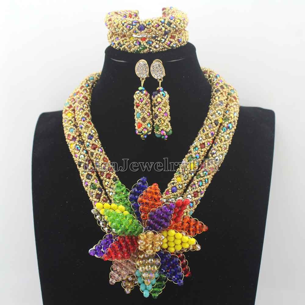 Masquerade African Jewelry Sets Nigerian Colorful Crystal Flower Pendent Beads Wedding Statement Jewelry Set Free ShippingHD8130
