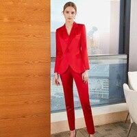2018 новые модные Пиджаки для женщин, простой Для женщин Брюки для девочек Костюмы 2 из двух частей Наборы для ухода за кожей длинный тонкий ку