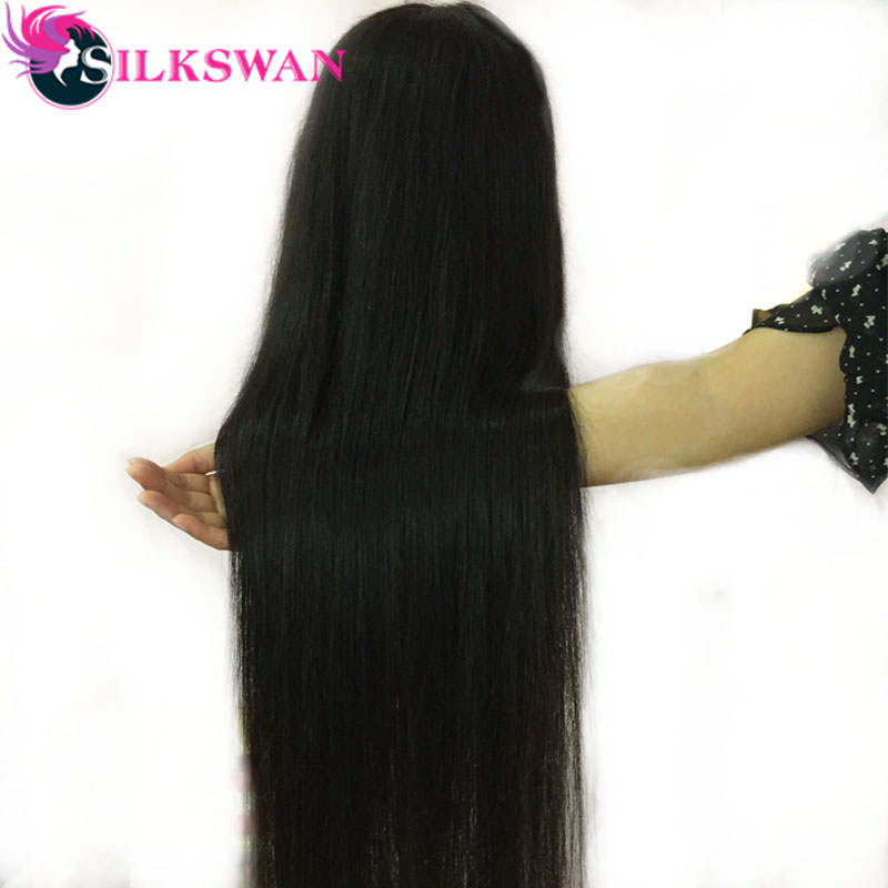 Silkswan 4X4 Lace Closure Wigs 8-26 Inch Middle Part Pre Plucked Lace Wigs For Women Brazilian Hair Human Hair Wig Natural Color