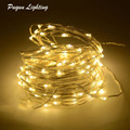 Iluminación al aire libre 2 M 3 M 5 M 10 M LED alimentado por batería de plata Hada cadena luces guirnalda de Navidad de vacaciones, fiesta de boda