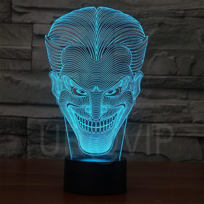 JC-2832  Amazing 3D Illusion led Table  Lamp Night Light with joker shape   (6)