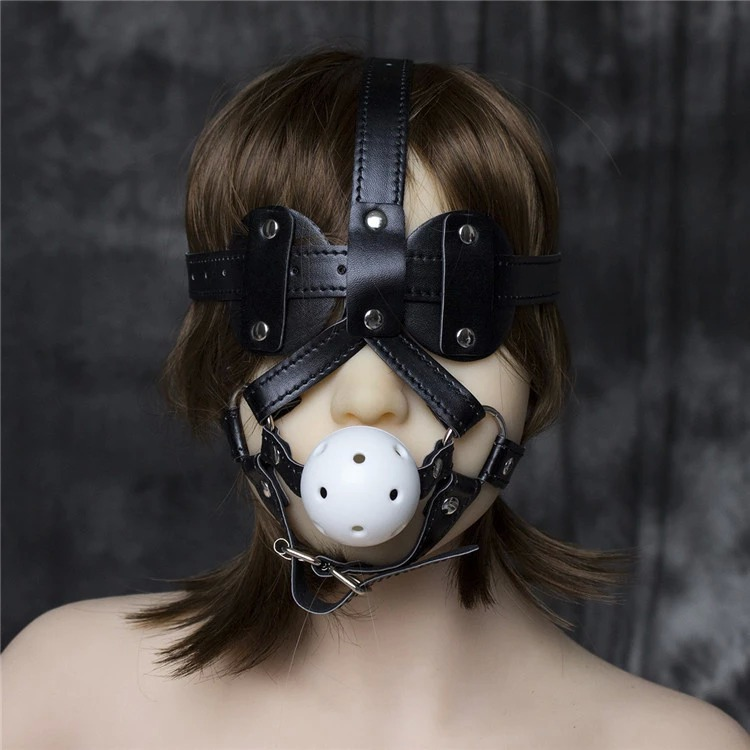 Fetish Hood Headgear With Mouth Ball Gag PU Leather BDSM Bondage Sex Mask Adult Sex SM Men Women Party Sexy Masks