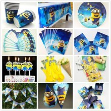 Minions Birthday Party Decorations Kids Tableware Plate Candy Popcorn Box Banner Flags Baby Shower Supplies