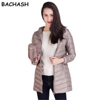 BACHASH 2017 Woman Clothing Solid Color Long Sleeved Casual New Women Coat Stand Collar Pockets Trench