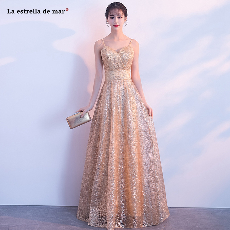 Vestido de madrinha de casamento longo new sexy V neck tulle sequins gold silver   bridesmaid     dresses   cheap sukienki weselne