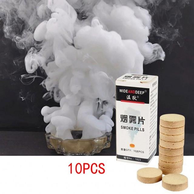 New 10Pc/Box White Smoke Cake Pills Show Smoke Bomb Divine Halloween Photography Aid Decoration Tool Props Round Party DIY Decor